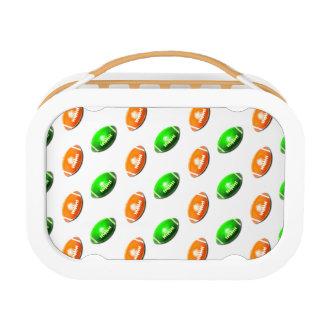 緑およびオレンジフットボールパターン ランチボックス