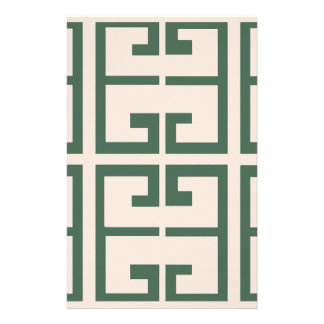 緑およびカーキ色のタイル 便箋