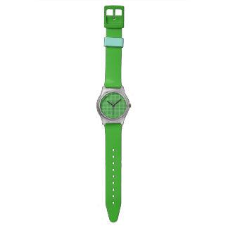 緑およびターコイズの格子プリントのプラスチック腕時計 腕時計