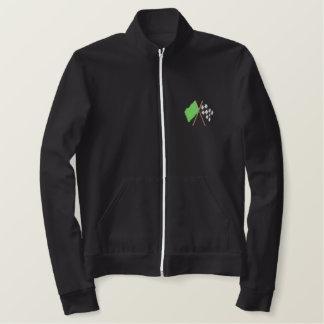 緑およびチェック模様の旗 刺繍入りジャケット