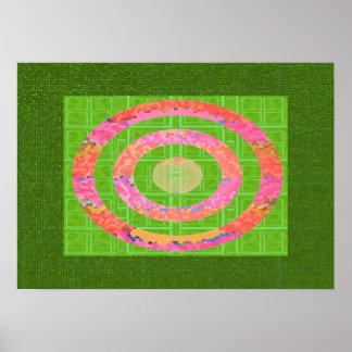 緑およびチャクラの楕円形のステンドグラスのピンクの色相 ポスター
