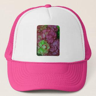 緑およびピンクのアジサイ キャップ