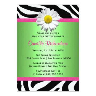 緑およびピンクのシマウマの卒業のパーティの招待状 カード