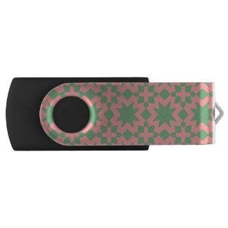緑およびピンクのスタイリッシュでシックで装飾的なパターン USBフラッシュドライブ