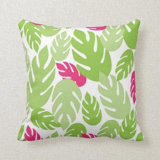 緑およびピンクのハワイの熱帯シダの装飾用クッション クッション