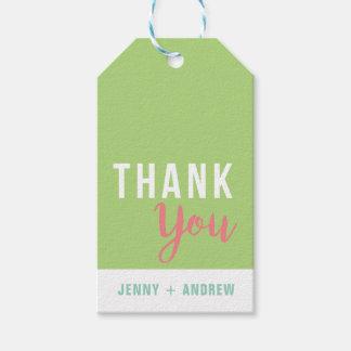 緑およびピンクのブライダルシャワーはギフトのラベル感謝していしています ギフトタグ