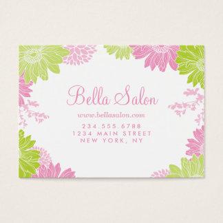 緑およびピンクのモダンな花の名刺 名刺