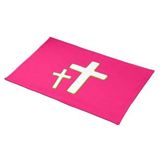 緑およびピンクの十字のデザイン ランチョンマット