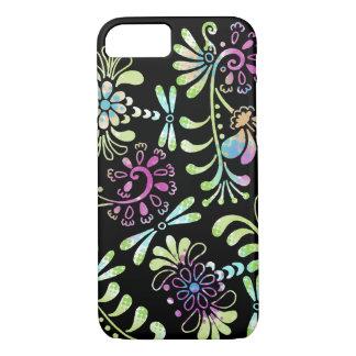 緑およびピンクの抽象的な花 iPhone 7ケース