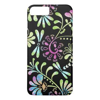 緑およびピンクの抽象的な花 iPhone 7 PLUSケース