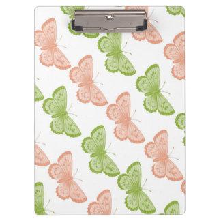 緑およびピンクの蝶クリップボード クリップボード