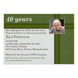 緑およびブラウンの格子縞、退職の招待状 カード