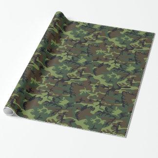緑およびブラウン織り目加工のデジタルのカムフラージュ ラッピングペーパー