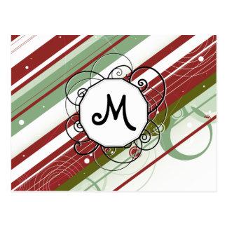 緑およびワインのモダンレトロはモノグラムと縞で飾ります ポストカード