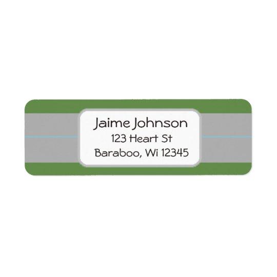 緑および灰色の差出人住所のステッカー ラベル