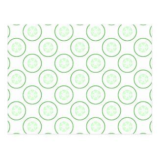 緑および白いきゅうりパターン ポストカード