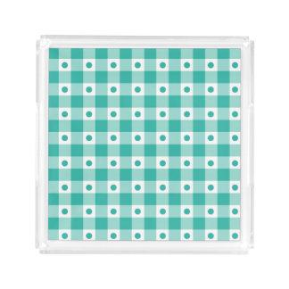 緑および白いギンガムの点検のドット・パターン アクリルトレー