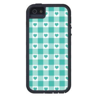 緑および白いギンガムの点検のハートパターン iPhone SE/5/5s ケース