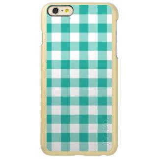緑および白いギンガムの点検パターン INCIPIO FEATHER SHINE iPhone 6 PLUSケース