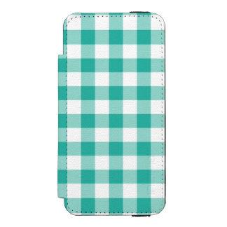 緑および白いギンガムの点検パターン INCIPIO WATSON™ iPhone 5 財布 ケース