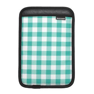 緑および白いギンガムの点検パターン iPad MINIスリーブ