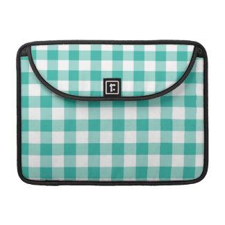 緑および白いギンガムの点検パターン MacBook PROスリーブ
