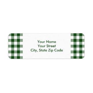 緑および白いギンガムパターン住所シール ラベル