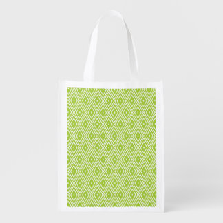 緑および白いダイヤモンド エコバッグ