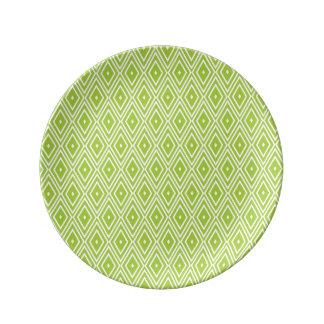 緑および白いダイヤモンド 磁器プレート