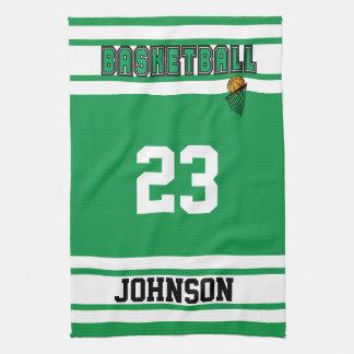 緑および白いバスケットボールを個人化して下さい キッチンタオル