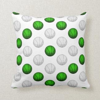 緑および白いバスケットボールパターン クッション