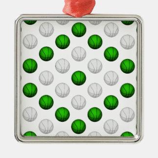 緑および白いバスケットボールパターン メタルオーナメント