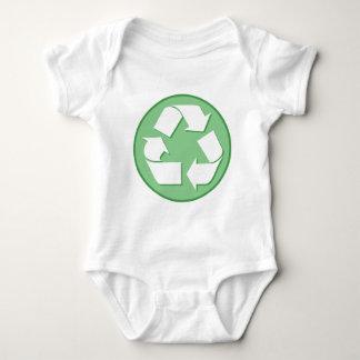 緑および白いリサイクルの印 ベビーボディスーツ