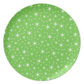 緑および白い星パターン プレート