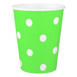 緑および白い水玉模様のモダンの魅力 紙コップ