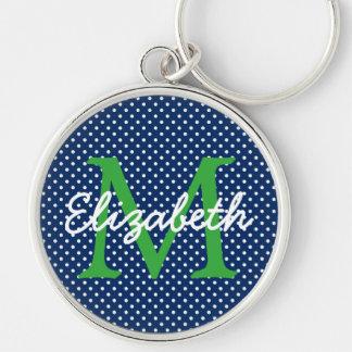 緑および白い水玉模様のモノグラムが付いている濃紺 キーホルダー