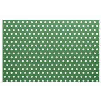 緑および白い水玉模様パターンDIY趣味の生地 ファブリック