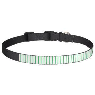 緑および白い細い縦縞のドッグカラー ペット首輪