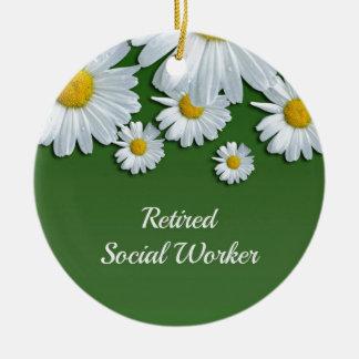 緑および白い花のデザイン退職したな社会的なworke セラミックオーナメント