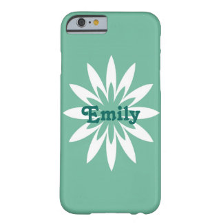 緑および白い花のモノグラムの携帯電話の箱 BARELY THERE iPhone 6 ケース