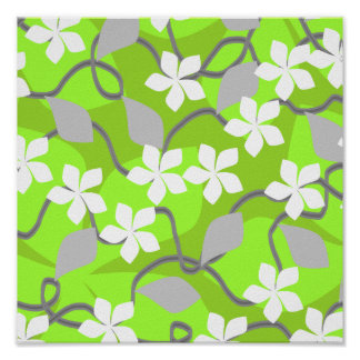 緑および白い花。 花パターン ポスター