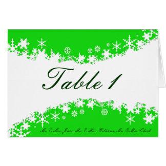 緑および白い雪片のテーブルカード カード