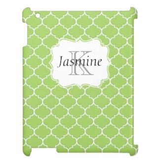 緑および白くカスタムなモロッコのモノグラムの箱 iPadケース