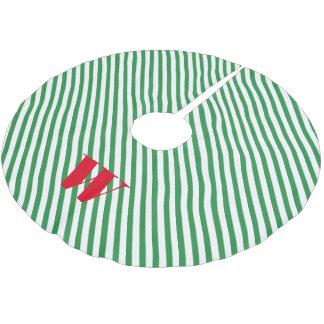 緑および白くストライプのなクリスマスツリーのスカート ブラッシュドポリエステルツリースカート