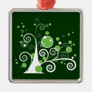 緑および白の抽象的な木 メタルオーナメント
