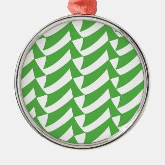 緑および白の点検 メタルオーナメント