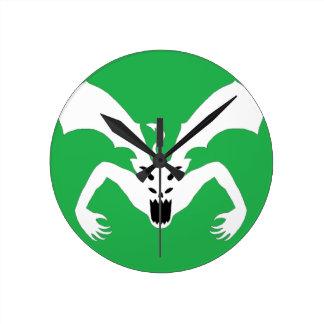 緑および白人の悪魔 ラウンド壁時計