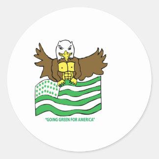 緑および白旗 ラウンドシール