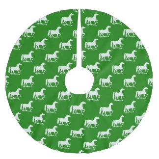 緑および白馬のクリスマスツリーのスカート ブラッシュドポリエステルツリースカート