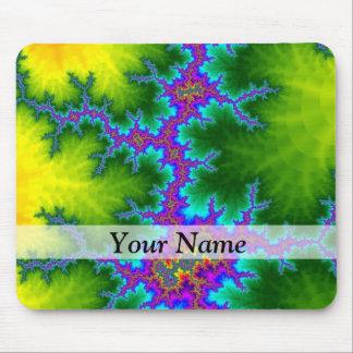 緑および紫色のフラクタルパターン マウスパッド